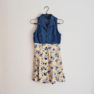 VTG Floral Button Front Mini Dress